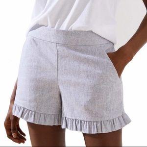 LOFT Pink Linen Blend Ruffle Hem Shorts